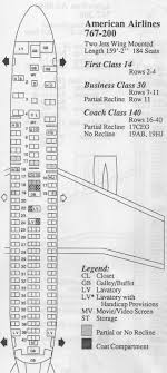Vintage Airline Seat Map American Airlines Boeing 767 200