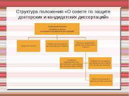 Презентация Диссертационное исследование главные этапы и  Структура положения О совете по защите докторских и кандидатских диссертаций
