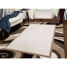 bazaar wavy border cream brown 5 ft x 7 ft indoor area rug