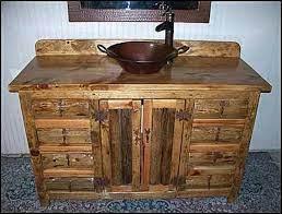 Rustic Log Bathroom Vanity 54 Copper Vessel Sink Etsy