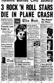 buddy holly plane crash newspaper article. Sun Front Page For Sunday February 1959 With Headline About The Plane Crash That Killed Big Bopper Richie Valens And Buddy Holly In Newspaper Article