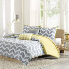 beautiful modern yellow white grey stripe chevron girl sport duvet cover set new