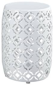 full size of tables appealing white round end table metal material latticepattern delightful drum stylish