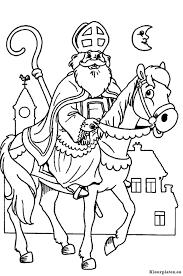 Sinterklaas Op Zijn Paard Schimmel Kleurplaat