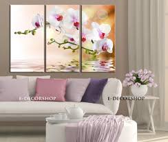 large wall art 3 panel orchid flowers canvas art print ready to hang streched on 3 panel wall art flowers with large wall art 3 panel orchid flowers canvas art print ready to