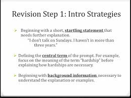 revising your expository essay label your thesis underline your  revision step 1 intro strategies  beginning a short startling statement that needs