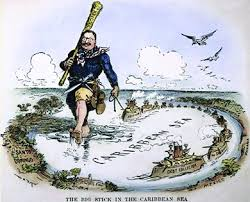a cartoon captioned the big stick in the caribbean sea shows a