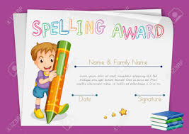 Kids Award Certificate Spelling Award Certificate Template With Kids And Crayon
