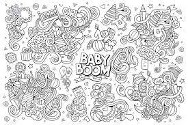 赤ちゃんをテーマに大ざっぱな手書き落書き漫画の一連のオブジェクトおよびシンボル