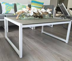 aluminum outdoor dining sets inspirational anacapri white aluminum and faux wood modern outdoor coffee table large