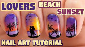 Lovers Beach Sunset Valentine Nail Art Tutorial - YouTube