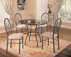 get ations 5pc dining table and chairs set metal base rich dark brown finish