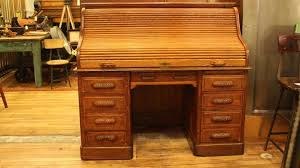 antique oak roll top desk with raised panels s roll style at 1stdibs antique oak roll