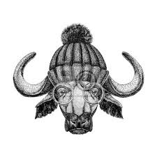 Fototapeta Obrázek Bizon Býk Buvol Pro Tetování Logo Znak Odznak Designu