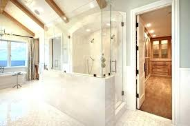 showers half wall shower walk in with pony glass bathroom contemporary gray walls