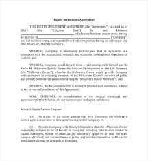 Simple Investment Agreement Template Free Business Investment