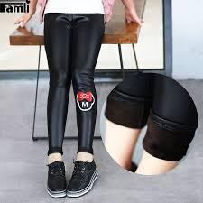 famli toddler girls warm winter pants trousers kids winter faux leather legging velvet skinny pencil pant leggings for girl