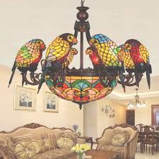 creative 11 light parrot shaped stained glass chandeliers throughout stained glass chandelier view 18 of