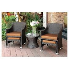 Robby 3pc All Weather Wicker Patio Chat Set with Nesting Ottoman