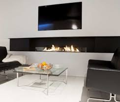 modern living room with narrow ethanol fireplace