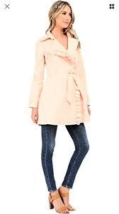 jessica simpson blush ruffle trim asymmetrical zip trench coat jacket s m 8 10