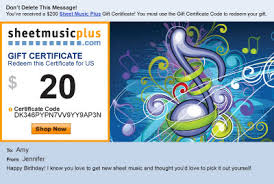 Gift Certificates For Your Business Sheet Music Gift Certificates At Sheet Music Plus