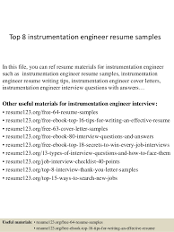 Top 8 instrumentation engineer resume samples In this file, you can ref  resume materials for ...