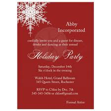 Formal Christmas Party Invitations Corporate Holiday Party Offset Snowflake In Red