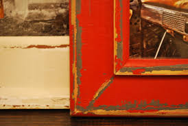 colourful township print red distressed wood frame