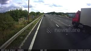 Newsflare - Lorry completely demolishes caravan in collision on M1