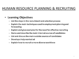 human resource planning recruiting learning objectives 2 2 human resource planning