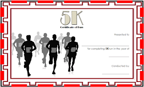 Fun Run Certificate Template 5k Race Certificate Template 6 Paddle At The Point