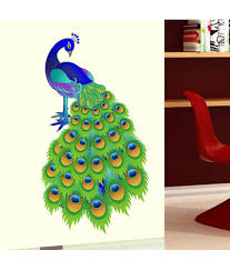 Indian Peacock Design Stickerskart Slender Colourful Indian Peacock Design Wall Sticker