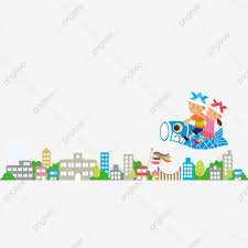 City Urban Area Cartoon Hand Drawn City High Rise Building