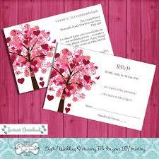 Microsoft Word Hearts Digital Diy Editable Wedding Rsvp Information Card