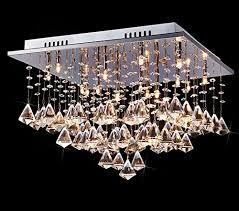 saint mossi modern k9 crystal raindrop chandelier lighting flush mount ceiling light fixture pendant lamp for dining room bathroom bedroom livingroom 16 g4