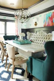 Eclectic Style Dining Set With Cream Tufted Bench And Green Wing