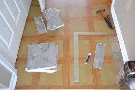 diy herringbone tile floor step 1