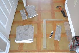 diy herringbone tile floor step 1