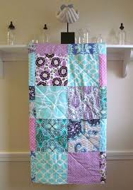 Best 25+ Patchwork baby ideas on Pinterest | Easy baby quilt ... & Modern Baby Girl Quilt, Baby Quilt Handmade, Girl Crib Bedding, Purple,  Orchid, Turquoise, Nursery Bedding, Navy Quilt, Lavender and Aqua Adamdwight.com