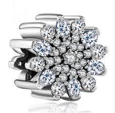 details about european 925 silver cz snowflake charm beads pendant fit bracelet necklace chain