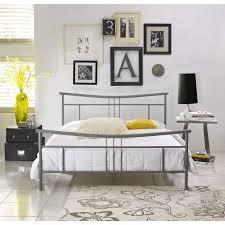 metal platform bed frame. Chelsea Metal Queen-Size Platform Bed Frame In Matte Nickel - HBEDCHEL-QN