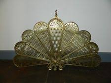 antique fireplace screen. antique brass fireplace screen folding peacock fan style with gargoyle griffin l