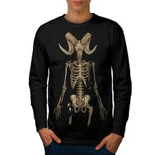 Skeleton Design T Shirt Details About Wellcoda Skeleton Satan Horror Mens Long Sleeve T Shirt Graphic Design