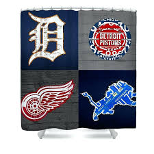 sports fan recycled vintage license plate art shower curtain bathrooms featuring the mixed media curtains