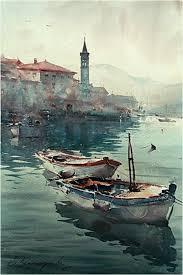 dusan djukaric boats in perast watercolor 36x55 cm
