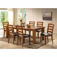 Esofastore Contemporary Cherry 7pc Dining Set Dining Table padded ...