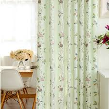 Fresh Light Green Bird Leaf Kids Polyester Nursery Curtains