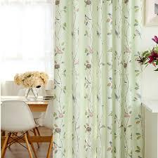 Fresh Light Green Bird Leaf Kids Polyester Nursery Curtains