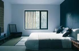 Peinture Chambre Pour Une Déco Inspiration Japonaise : Couleur Peinture Mur  Bleu Et Noir Bleuté Pour